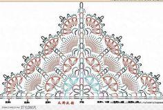 Si je vous disez que nous avons un petit rayon de soleil ici en Aveyron !!!! Voici un nouveau modèle, il demande un peu de concentration pour le faire mais il est relativement facile. Il se crochète avec un crochet de 3.5 ou 4. Prendre un fil uni il seras... Crochet Shawl Diagram, Crochet Chart, Crochet Stitches, Free Crochet, Crochet Gratis, Modern Crochet Patterns, Shawl Patterns, Crochet Blanket Patterns, Crochet Shawls And Wraps