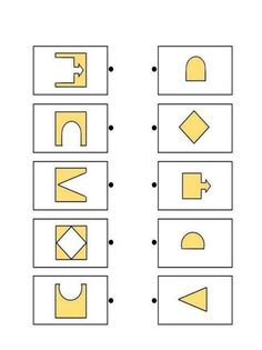 Printable brain teaser worksheets for kids in preschool, kindergarten, grade make square shapes by adding each shape on the left to a shape on the right. Preschool Math, Preschool Worksheets, Therapy Activities, Preschool Activities, Visual Perceptual Activities, Shapes Worksheets, Math For Kids, Thinking Skills, Kids Education
