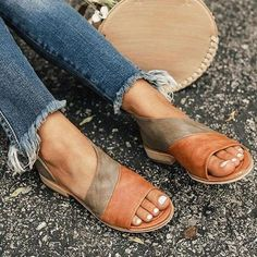 Large Size Women Summer Flat Heel Elastic Band Lace-Up Peep Toe Sandals Leather Sandals Flat, Leather Heels, Flat Sandals, Flat Shoes, Pu Leather, Women's Shoes, Sandals For Work, Sperry Shoes, Dress Shoes