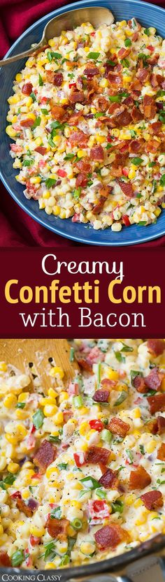 Yummy Vegetable Side Dishes You Will LOVE! Creamy Confetti Corn with Bacon Vegetable Side Dish Recipe via Cooking Classy – the ultimate summer side dish! Corn Recipes, Side Dish Recipes, Vegetable Recipes, Dinner Recipes, Recipies, Vegetable Medley, Thanksgiving Side Dishes, Thanksgiving Recipes, Christmas Side Dishes