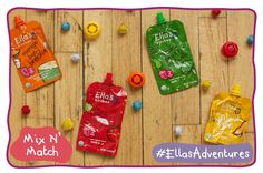 Mix n' Match!  Colors are fun, bright, + exciting!! Help your little one recognize new colors with this mix n' match #TTBA! #EllasAdventures   Step 1: Gather empty, clean #EllasKitchen pouches and caps   Step 2: Lay out each pouch and cap, mixing up the different colors   Step 3: Show your little one which caps match the pouch, or if old enough, let them do this themselves.   Step 4: Once a match is made, let your little one try the flavor!