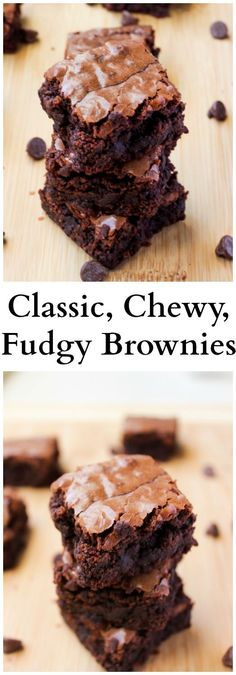 These are your classic chewy fudgy brownies made with chocolate chips. Brownies Recipes These are your classic chewy fudgy brownies made with chocolate chips. No Bake Desserts, Just Desserts, Delicious Desserts, Dessert Recipes, Yummy Food, Chewy Brownies, Best Brownies, How To Make Brownies, Desserts