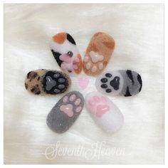 cat paw nails by Cat Nail Art, Animal Nail Art, Cat Nails, Cat Nail Designs, Nails Design, Kawaii Nails, Japanese Nails, Nail Swag, French Nails