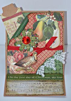 Elite4U Cheryl Graphic 45 12 DAYS OF CHRISTMAS Easel Card 1st Day of Christmas