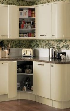Howdens Cream Glendevon - Concave Curved Wall and Base Units Howdens Kitchen Units, Kitchen Corner Cupboard, Howdens Kitchens, Kitchen Cupboards, New Kitchen, Home Kitchens, Kitchen Decor, Kitchen Ideas, Decorating Kitchen