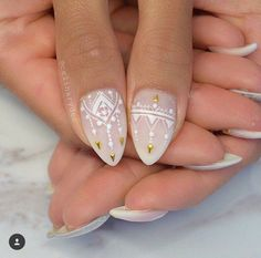 love these designs for the ring finger with the other nails being a bit simpler or even just plain.