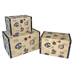 Cheungs Small Trunk with Vintage Phone (Set of 3)