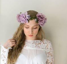 Lavender Rose Flower Crown  Boho Chic Wedding by VioletteandIris