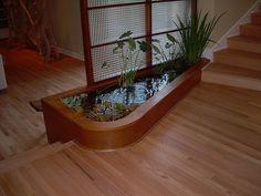 indoor pond - small, out of the way Indoor Pond, Indoor Water Garden, Garden Ponds, Aquariums, Pond Design, Living Room Flooring, Water Features, Home Deco, Home And Living