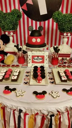 Mickey Mouse birthday party dessert table! See more party ideas at CatchMyParty.com!