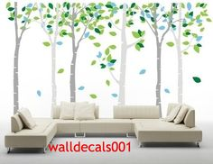 Birch tree Wall Decals Wall stickers tree,decal,sticker,kids,baby,nursery,livingroom,bedroom,art - Birds in Birch Forest-6birch trees. $89.00, via Etsy.