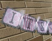It's A Girl Baby Shower Banner Gray and Pink