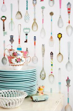 Teaspoons wallpaper for the kitchen