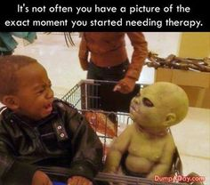Poor baby, that toy is CREEPY! PTSD inducing scary! Look at that fear face...it's when it all starts - pre-judgement - that's the sad thing and the almost impossible to change thing- you don't remember it but the feelings are there waiting to be triggered by something later...
