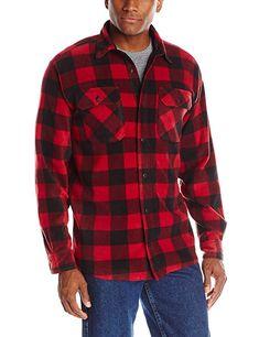 27ba6735894 Authentics Men s Big-Tall Long Sleeve Plaid Fleece Shirt - Red Buffalo Plaid  - Clothing
