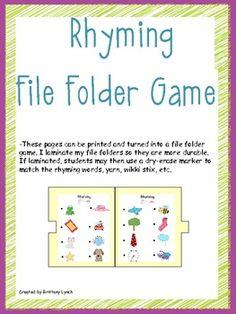 Rhyming File Folder Game