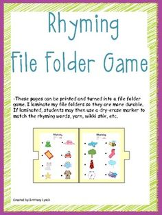 Rhyming File Folder Game