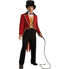 Men/'s Ringmaster Costume Circus Carnival Ring Leader Lion Tamer Freak Side Show