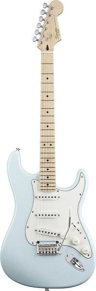 Squier Deluxe Stratocaster The Deluxe Stratocaster is a true class act, with a smooth, satin-finished maple neck and classic single-coil tone from three Duncan Designed pickups. Other cool features in