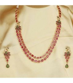 Buy Design No. 6550 - Online Shopping For Necklaces By Chaahat Fashion Jewellery online. Gold Wedding Jewelry, Gold Jewelry Simple, Ruby Necklace Designs, Ruby Jewelry, Gems Jewelry, Jewelry Necklaces, Ruby Bangles, Fashion Jewellery Online, Short Necklace