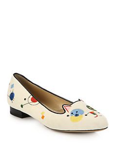 Charlotte Olympia - Abstract Cat Embroidered Velvet Loafers