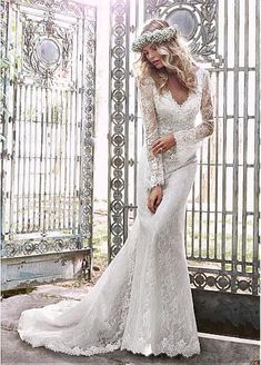 Elegant Lace V-neck Neckline Long Sleeves Sheath Wedding Dress With Handmade Flowers