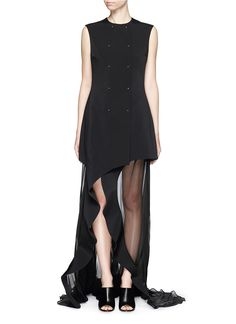 ESTEBAN CORTAZAR 'Portefeuille' Chiffon Ruffle Cady Gown. #estebancortazar #cloth #gown
