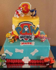 Paw Patrol cake for my 3 year old nephew. Rubble is his favorite