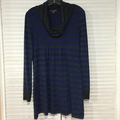 Forever 21 Tunic/Long Sleeve Dress A cute and comfortable tunic/dress! Blue and gray (or faded green, however you see it) striped tunic/dress, with long sleeves and loose turtleneck. Super cute to wear with tights or leggings and tall boots! Forever 21 Tops Tunics