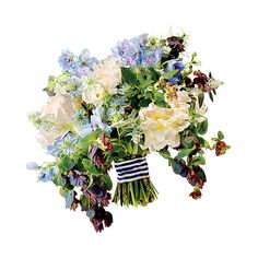 Brides.com: The Prettiest Wedding Bouquets of the Year. A Preppy Wedding Bouquet With Peonies. This bouquet was born to be carried at an elegant seaside wedding—the striped wrap couldn't look more nautical.  Peony, ranunculus, nigella, delphinius, cerinthe, and blueberry wedding bouquet, $325, Poppies & Posies  See more peony wedding flowers.