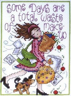0 point de croix total waste of make up - cross stitch