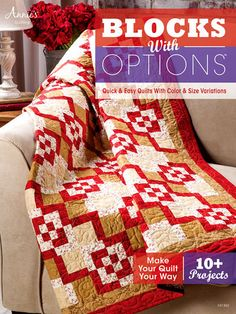 Blocks With Options, 10 + projects, Quilt patterns, Annies Quilt Books, Author Annies Quilting Quick and easy quilts with color variations #WholesaleSupplies #BlocksWithOptions #EasyQuilts #AnniesAttic #AnniesCrafts #AnniesQuilting #WholesaleCraft #CraftEducation #9781596356788 #MoondancerCrafts