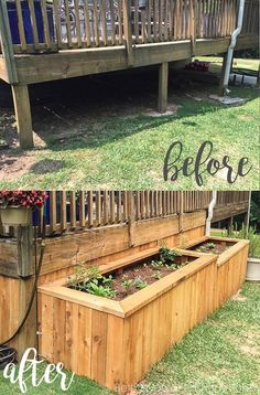 Raised Garden Beds around back deck