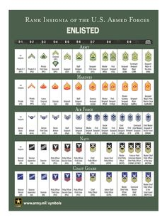Complete Us Military Officer Ranks Air Force Enlisted Rank Chart Military Ranks Chart Marines Us Military Enlisted Rank Chart Insignia Chart Military Officer, Military Insignia, Navy Military, Military Personnel, Military Life, Military Service, Military Ribbons, Military Aircraft, Us Navy Rank Insignia