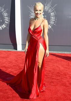 Rita Ora ~ 2014 VMA's ~ The singer looked sexy in a negligee-inspired red silk charmeuse dress by Donna Karan Atelier with Lorraine Schwartz jewelry