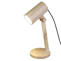 Wood Cylindrical Table Lamp by Fat Shack Vintage