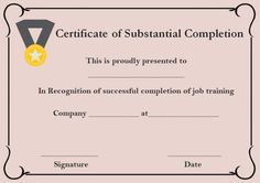 Ojt certificate of completion sample format certificate of certificate of substantial completion template yelopaper Gallery