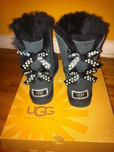 *NEW IN BOX* UGG Australia Boots sz8 Black Bailey Bow Custom Bedazzeled Crystals #UGGAustralia #FashionMidCalf