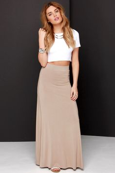 Stretch of the Imagination Light Brown Maxi Skirt