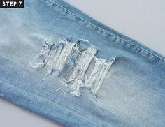 If patience isn& your thing, nor is the idea of mass-manufactured holes, we put together an easy step-by-step guide on how to distress your jeans at home. How To Make Ripped Jeans, Diy Ripped Jeans, Holey Jeans, Denim Shorts, Diy Distressed Jeans, Baby Jeans, Embellished Jeans, Sewing Hacks, Sewing Ideas