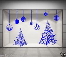CHRISTMAS SHOP WINDOW STICKER XMAS TREE WALL STICKERS XMAS BAUBLES DECALS  N6