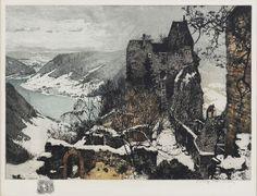 Luigi Kasimir, 1881-1962, Austrian, Aggstein Castle, etching and aquatint in colors