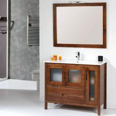 Mueble de baño rústico BRUSELAS con patas 100 cm nogal con LAVABO 9544 Vanity, Double Vanity, Bathroom