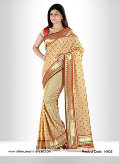 Shiny Cream Festival Art Silk Designer Saree