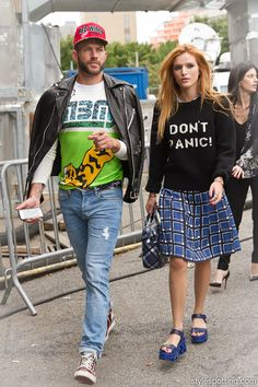 stylespotting.com | Gorgeous actress Bella Thorne and her stylist Johnny Wujek head into Marc by Marc Jacob's show at Pier 94 #nyfw