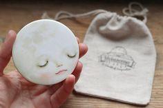 Sweet Moon  Pocket Mirror   Smiling moon mirror kids by Meluseena