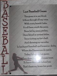 Last game poem Play Baseball Games, Baseball Crafts, Sports Baseball, Baseball Players, Baseball Field, Baseball Stuff, Baseball Wreaths, Baseball Equipment, Baseball Party