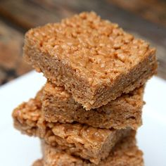 Protein-Packed Peanut Butter Rice Krispies Treats: Chewy, crispy, sweet, and buttery — what's not to love abut Rice Krispies treats?