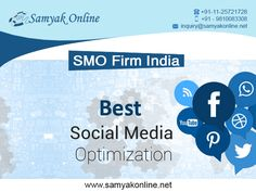 Samyak Online Services is a best SMO company that provides cost effective SMO services. SMO stands for Social Media Optimization services which was designed to drive quality traffic from social media sites such as LinkedIn, Facebook, Twitter, Google Plus, YouTube etc.