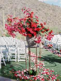 New Orleans Meets Arizona In This Bright Al Fresco Affair Wedding Flower Arrangements, Wedding Centerpieces, Floral Arrangements, Wedding Decorations, Sedona Wedding, Arizona Wedding, Bougainvillea Wedding, Floral Wedding, Wedding Flowers
